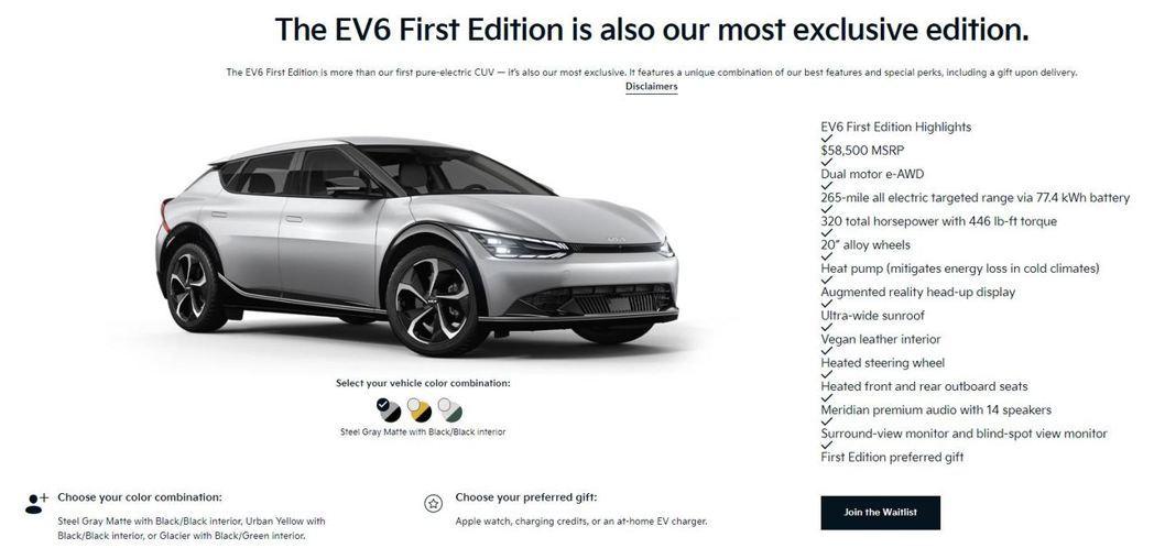 全新美規Kia EV6 First Edition原定於3日開放預購,卻因為一時...