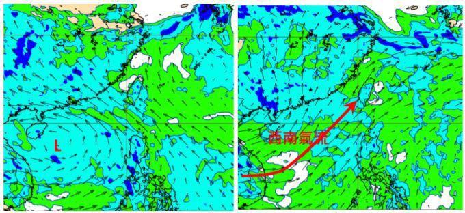 歐洲(ECMWF)模式模擬850百帕風場圖顯示,周五20時南海有熱帶擾動(左圖)...