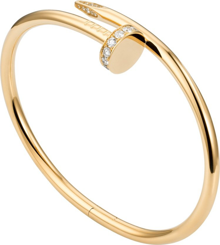 Juste un Clou黃K金鑲鑽手環,34萬8,000元。圖/卡地亞提供