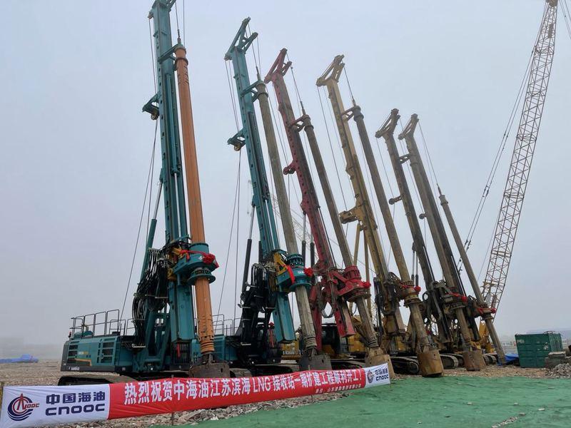 江蘇鹽城濱海港工業園區9日開工建造全球最大LNG(液化天然氣)儲氣槽。圖源:澎湃新聞