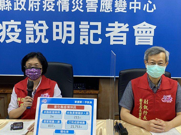 彰化縣長王惠美(左)主持彰化縣防疫記者會直播。記者劉明岩/攝影