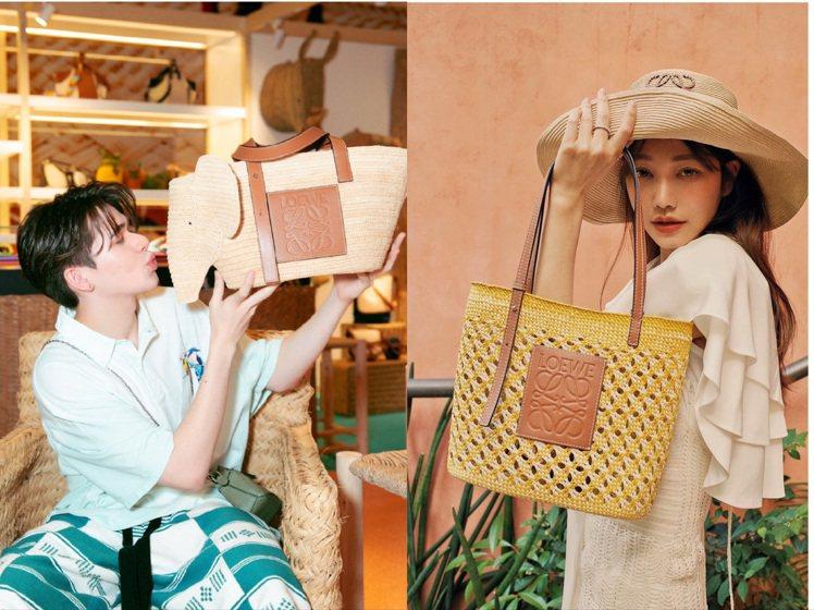 日本男星慶怜詮釋LOEWE全新大象編織包、許路兒演繹蜂巢紋棕櫚纖維方形織籃。圖/...