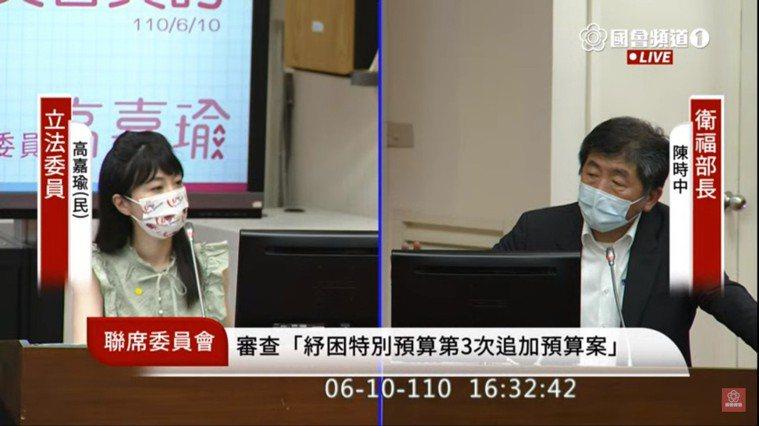 民進黨立委高嘉瑜(左)今質詢衛福部長陳時中(右)。圖/翻攝自立法院直播