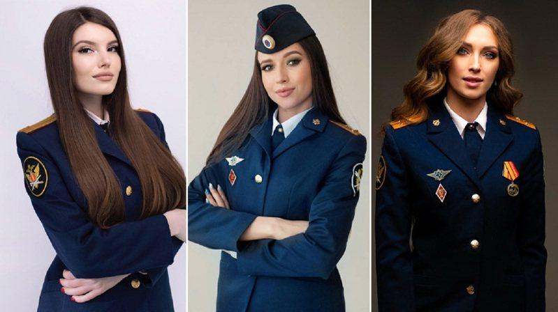 俄羅斯的聯邦監獄署正舉行「2021年懲戒系統小姐選美比賽」,並在日前釋出入圍名單,讓俄國12位最美麗獄警角逐第一名寶座。圖為其中三位決賽入圍者。畫面翻攝:RT