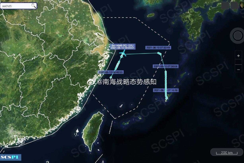 陸指美軍偵察重心轉向東海 10日先後派出兩架偵察機
