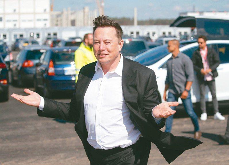 特斯拉執行長馬斯克宣布公司暫停接受用比特幣買車,比特幣也應聲大貶。(法新社)