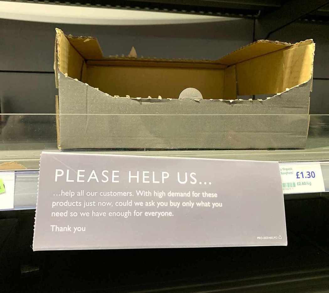 超商呼籲消費者理性購物,將物資留給需要的人。 圖/程怡綾 攝影
