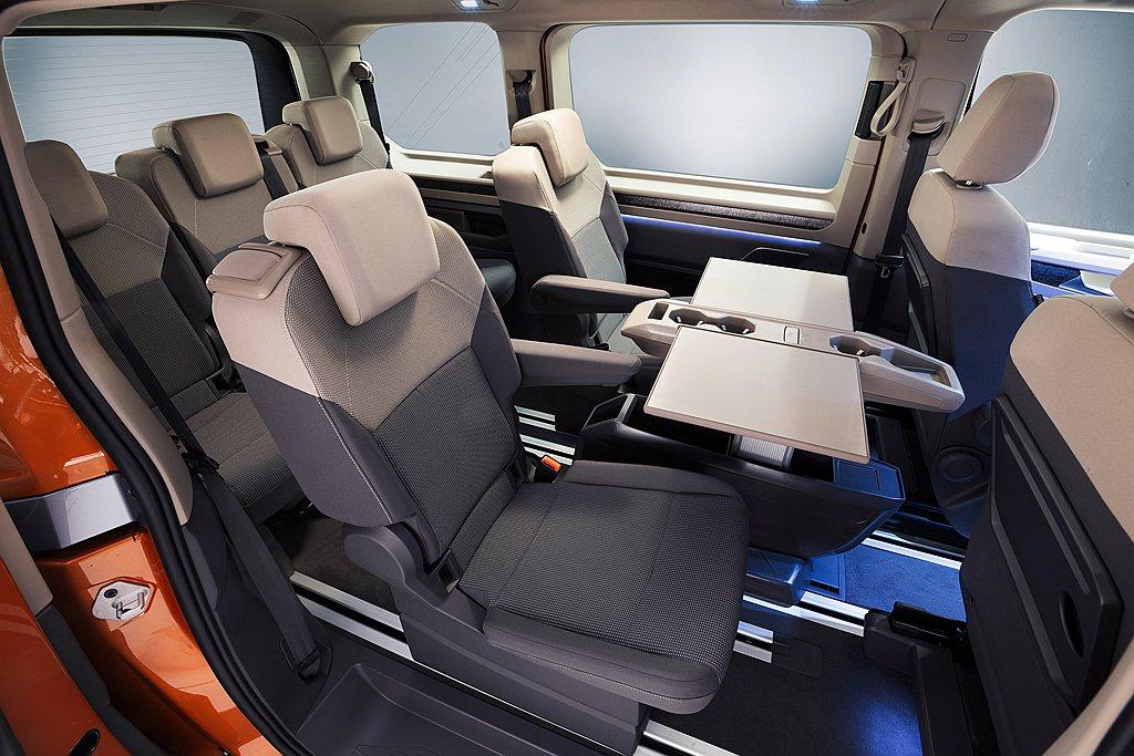 第二、三排座椅也具備前、後滑移以及180度旋轉功能,搭配中央滑軌全新設計的多功能...