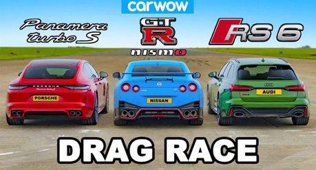 影/Nissan GT-R竟跑不贏四門房車?後面還緊咬著一輛旅行車!