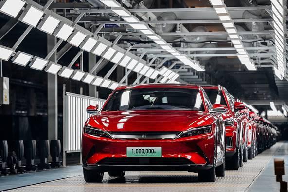 圖八、比亞迪完成第100萬輛新能源乘用車——漢EV (圖片來源:比亞迪)