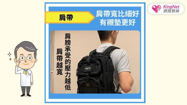背包肩帶寬比細好 圖/KingNet 國家網路醫藥