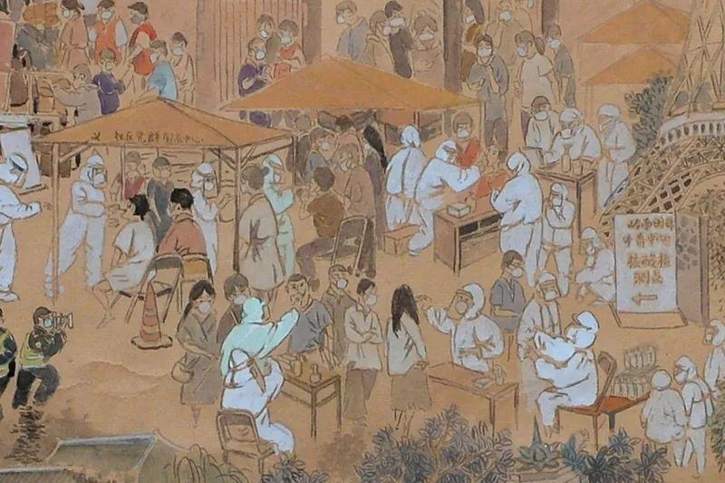「 核酸檢測上河圖」畫中描繪小到戴著口罩排隊的居民、身著防護服的醫務人員、全副武...
