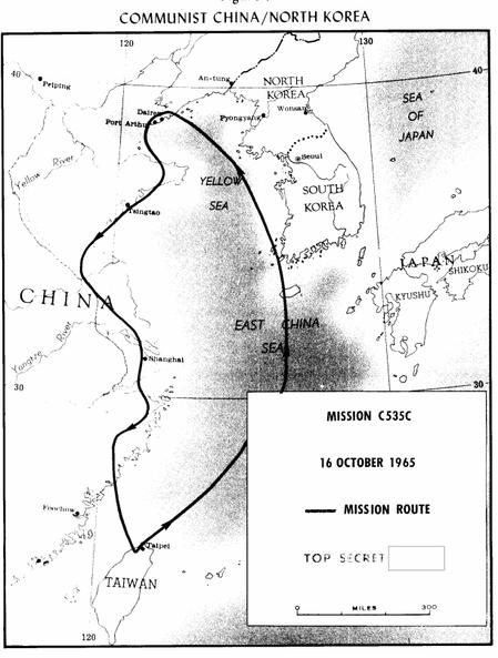 中華民國空軍至今都沒有將35中隊的U-2偵察任務英勇事蹟詳細公開,美國中情局卻早已公開U-2偵察任務過程與細節,圖為U-2高空偵察任務的飛行路徑。圖/翻攝自CIA官網