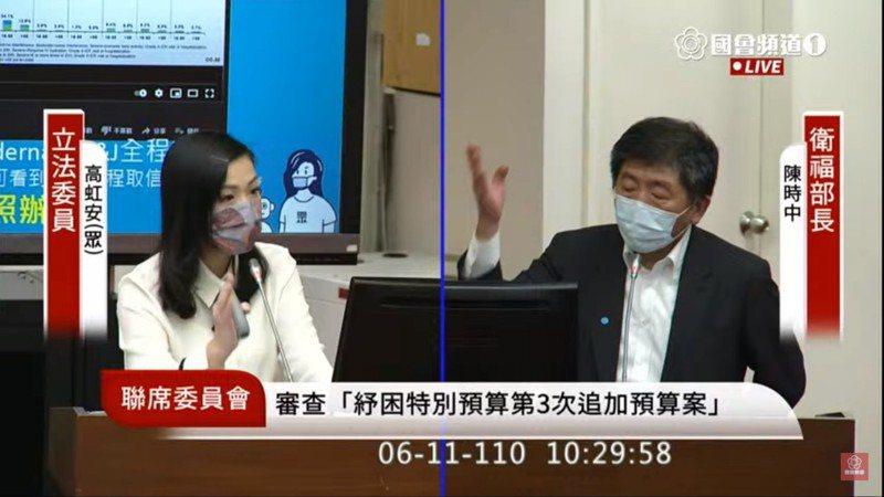 民眾黨立委高虹安(左)今於立法院財政委員會質詢衛福部長陳時中(右)。圖/翻攝自立法院直播