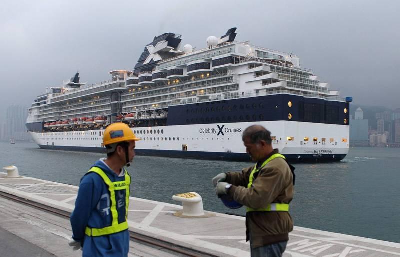 皇家加勒比國際郵輪,疫情爆發後首次出航竟傳出有2名乘客確診(菁英千禧號示意圖,非本次航行)。法新社