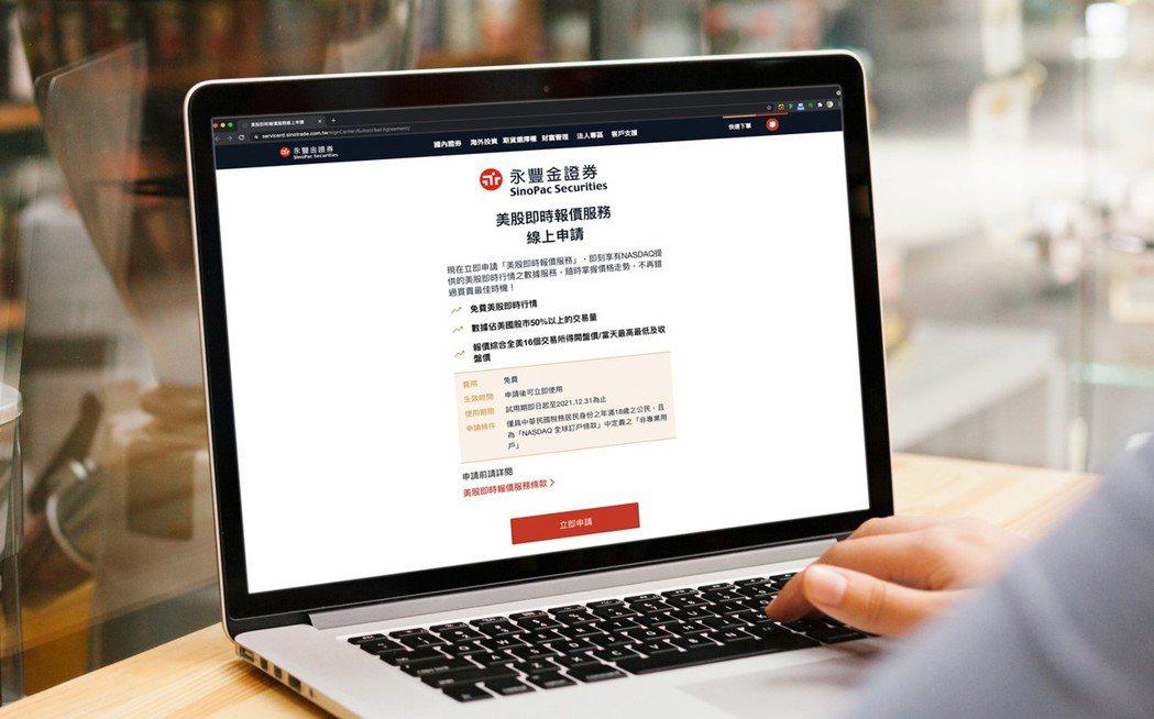 永豐金證券複委託平台升級 推出免費美股即時看盤報價。(永豐金證券提供)
