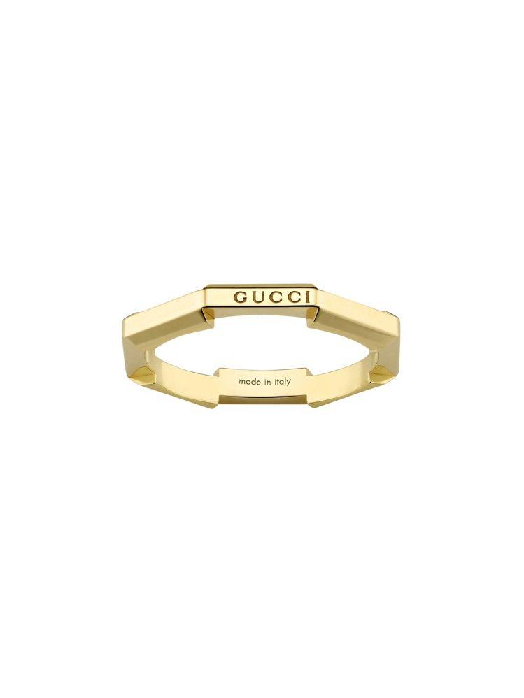 GUCCI Link to Love系列18K金戒指,28,600元。圖 / G...