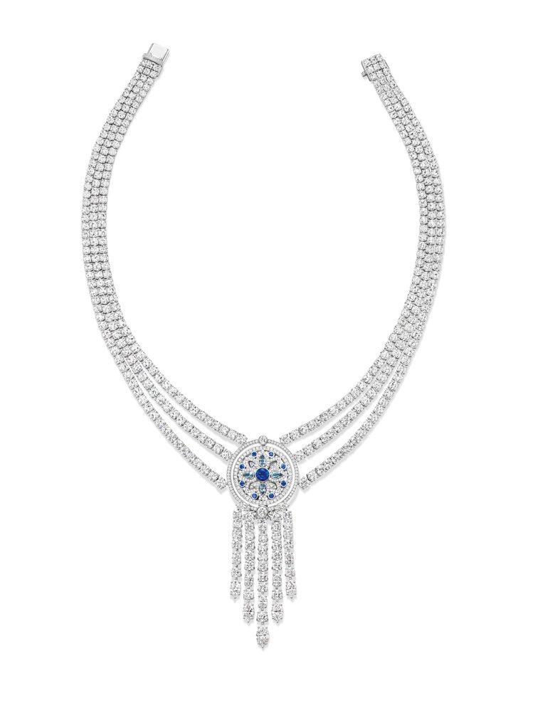 海瑞溫斯頓Secret Wonder系列鑽石項鍊,鑲嵌9顆圓形明亮式切工藍寶石重...
