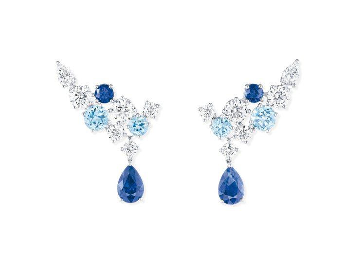 海瑞溫斯頓Sparkling Cluster系列藍寶石、海藍寶石及鑽石耳環,10...