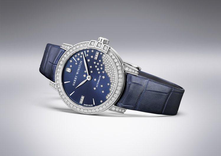 海瑞溫斯頓 Midnight系列29毫米鑽滴自動腕表,102萬元。圖 / 海瑞溫...