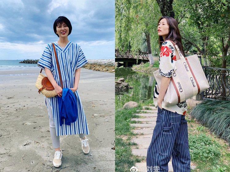 松隆子、劉雯演繹Chloé包款的夏日情調。圖/取自IG、微博
