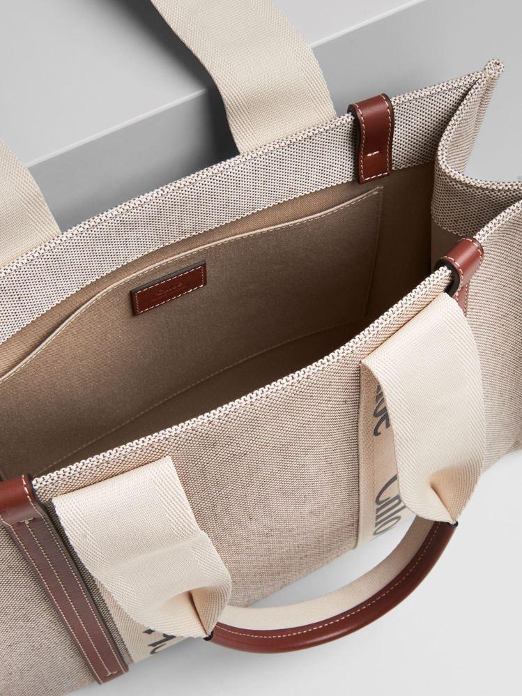 Chloé Woody咖啡色皮革飾邊中型托特包内裡示意圖,30,600元。圖/C...