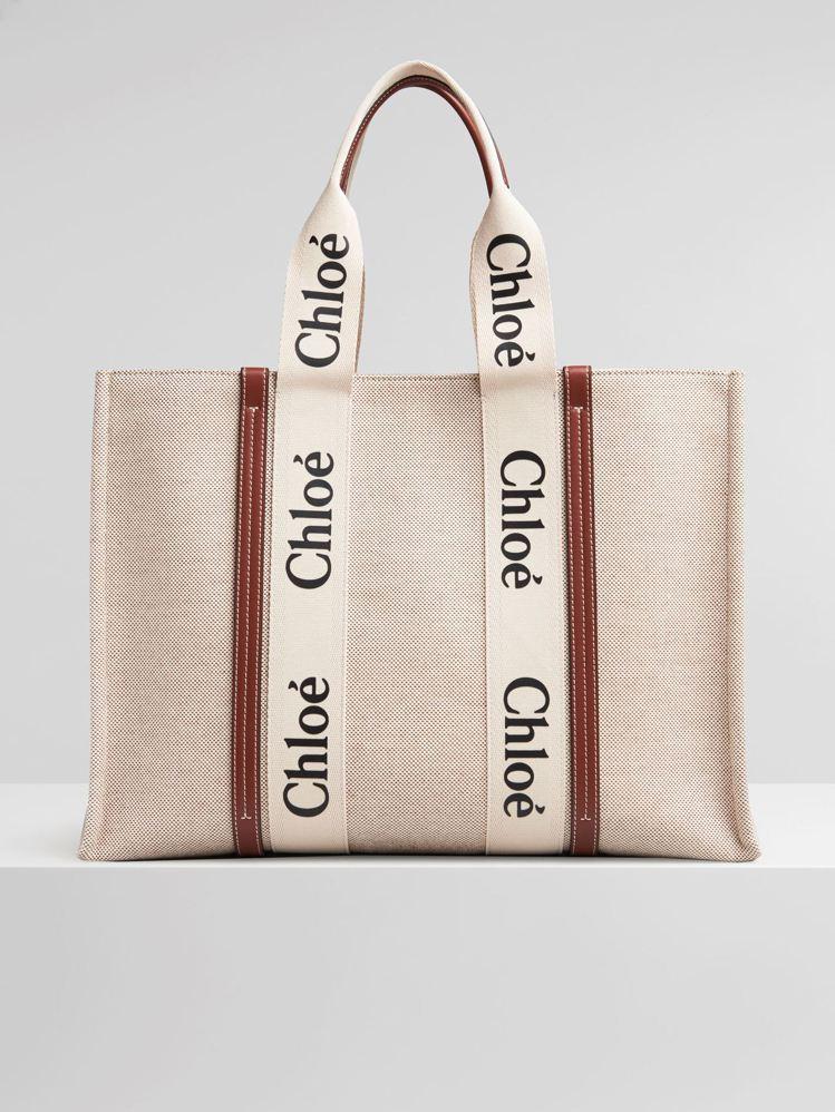 Chloé Woody咖啡色皮革飾邊大型托特包,34,900元。圖/Chloé提...