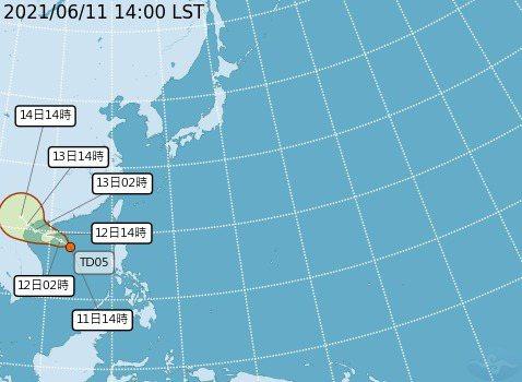 太平洋地區有一熱帶性低氣壓生成。圖/氣象局