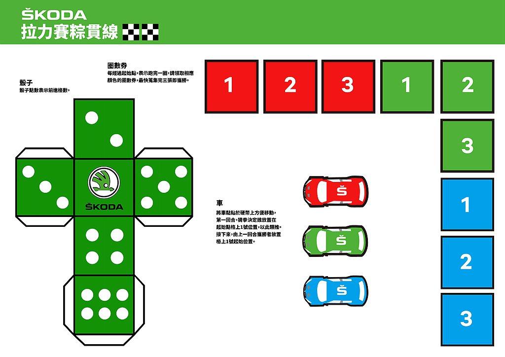 只要用五張A4紙就可以列印出自家專屬的SKODA賽車場以及三輛迷你賽車,三圈成果...