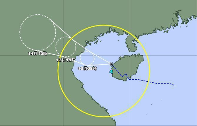 今年第四號颱風小熊路徑潛勢預報。圖/取自日本氣象廳網站