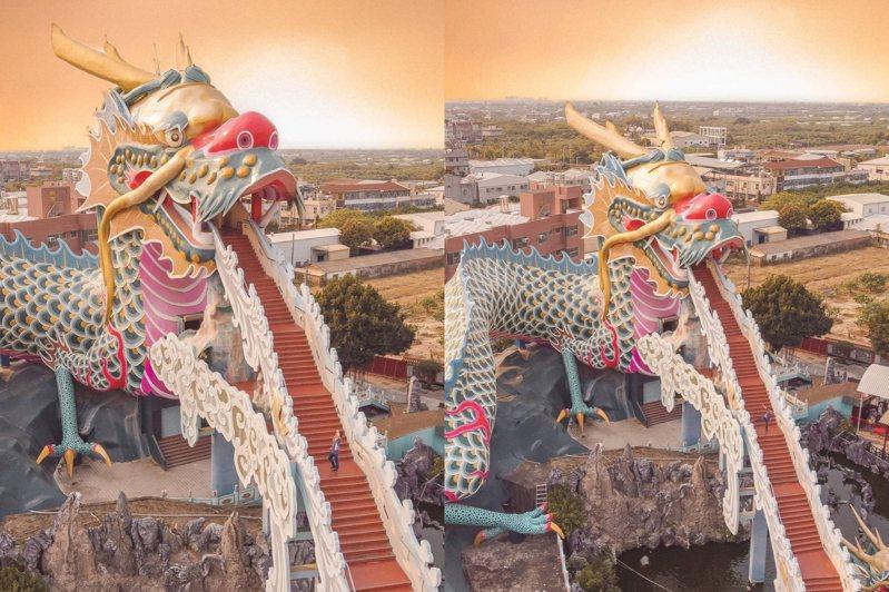 台南「麻豆代天府」的五彩巨龍為許多人的攻頂目標,攀上階梯即可居高臨下賞美景。圖/IG@tpo5088授權