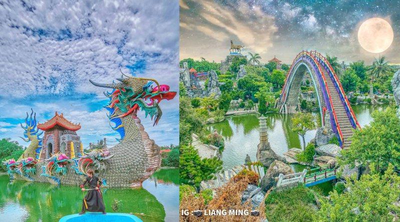 全台首座最大寺廟主題公園「五年千歲公園」擁有73個景點,免費開放參觀,園內彩虹拱橋為最夯打卡場景。圖/IG@tpo5088授權、IG@liang_ming_授權