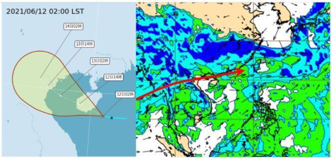 中央氣象局路徑潛勢預測圖顯示,海南島東南方的熱帶低壓今將發展為第4號颱風小熊。大...