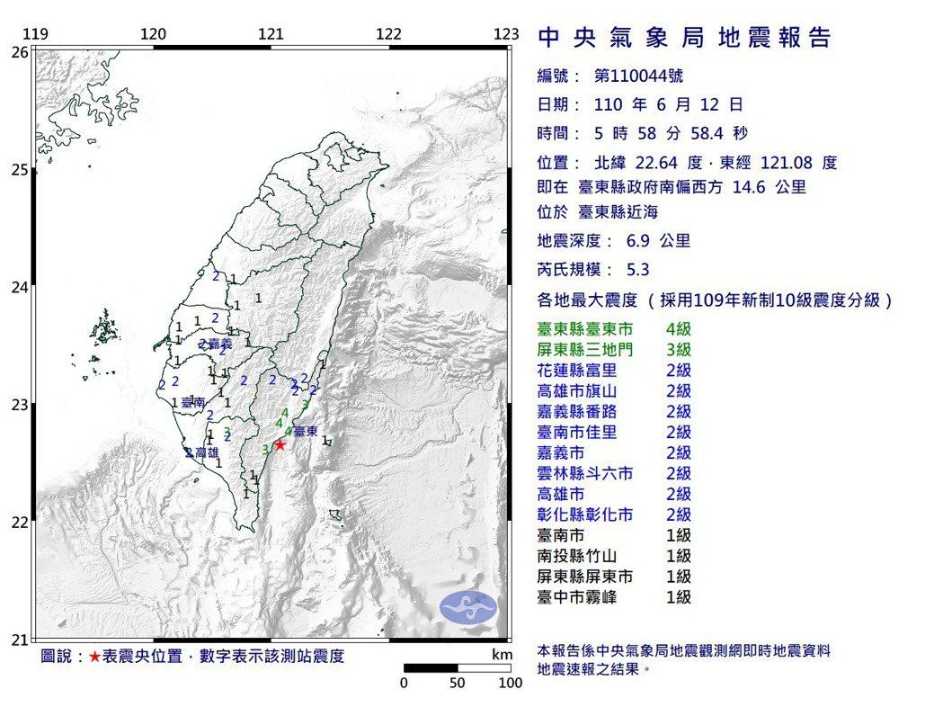 台東地震報告。圖/氣象局提供
