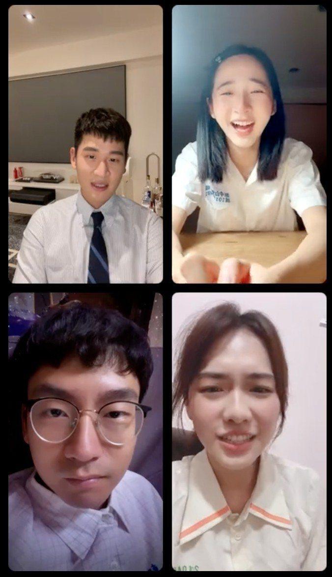周興哲(左上起)、李沐、何思靜、大鶴直播宣傳電影「我吃了那男孩一整年的早餐」。圖...