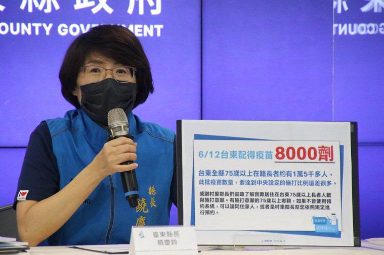 台東縣今天獲8000劑AZ疫苗,縣府開記者會說明相關施打對象及預約方式,縣長饒慶...