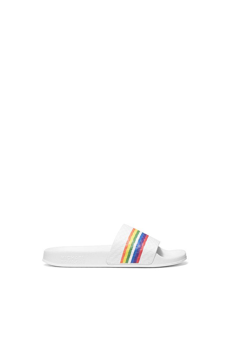 MICHAEL KORS白色彩虹拖鞋,3,800元。圖/MICHAEL KORS...