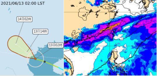 中央氣象局路徑潛勢預測圖顯示,小熊颱風上午將登陸越南北部,另歐洲(ECMWF)模式模擬,下周二梅雨滯留鋒已在台灣上空。圖/取自「三立準氣象.老大洩天機」專欄