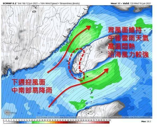 明天台灣附近轉為受西南風影響,預估連續一周都將是西南風環境。圖/取自「天氣職人-...
