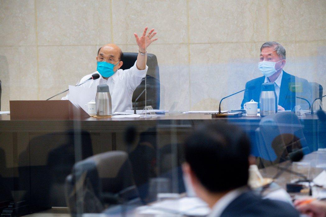 行政院長蘇貞昌今天召開行政院擴大防疫會議。圖/行政院提供