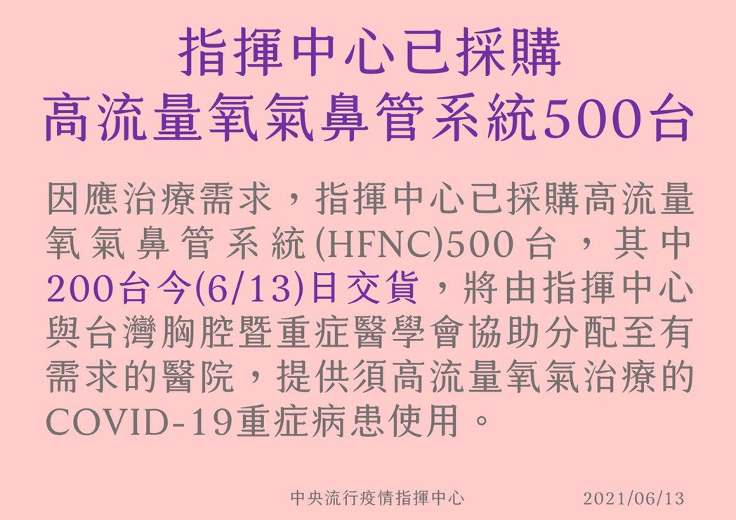 陳時中今回應表示,「我們很謝謝」,但指揮中心本來就有準備,已採購500台,預計今...