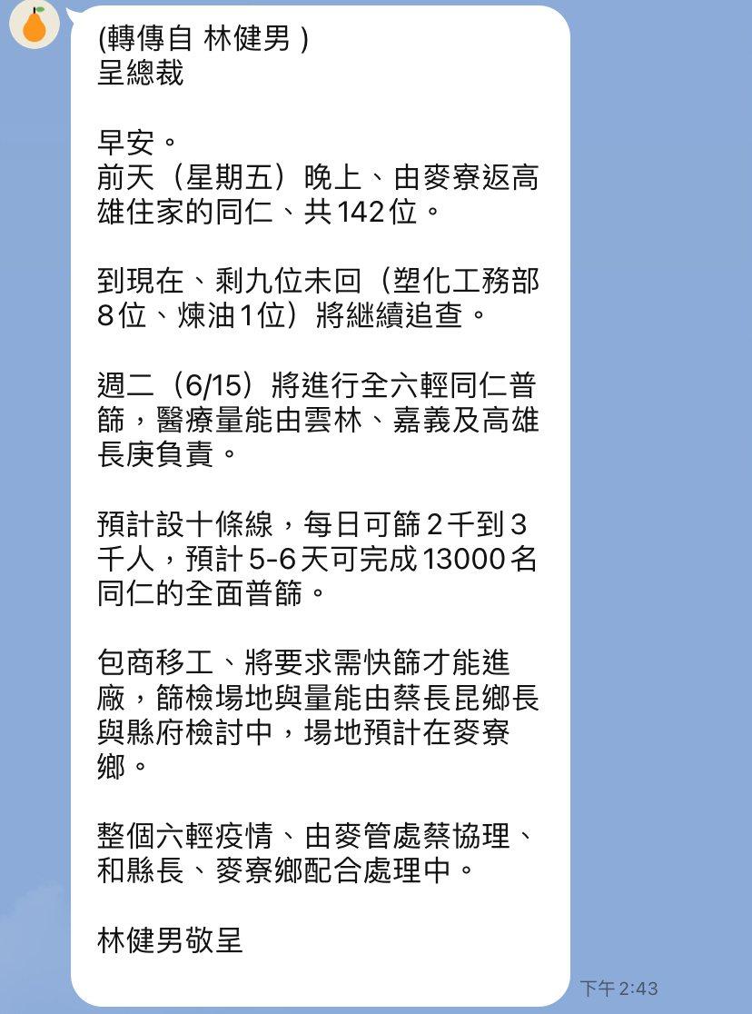 台塑六輕正著手設置廠區篩檢站,預定6月15日啟動,將設10條線,每日可篩2千至3...