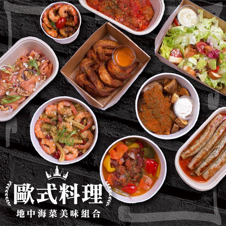 歐式料理套餐,吃得到手工臘腸肉丸佐辣番茄醬、巴薩米克蘑菇炒蝦等菜色,原價每套2,...