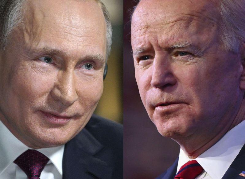 美國總統拜登(右)16日將在瑞士日內瓦與俄國總統普亭(左)會面。法新社