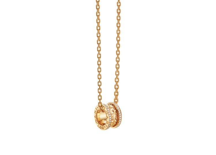 BVLGARI B.zero1 ROCK系列黃K金鑲鑽54 – 60cm項鍊,約...