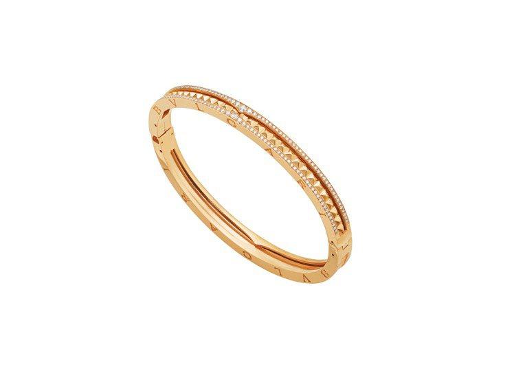 BVLGARI B.zero1 Rock系列黃K金鑲鑽手環,約48萬3,800元...
