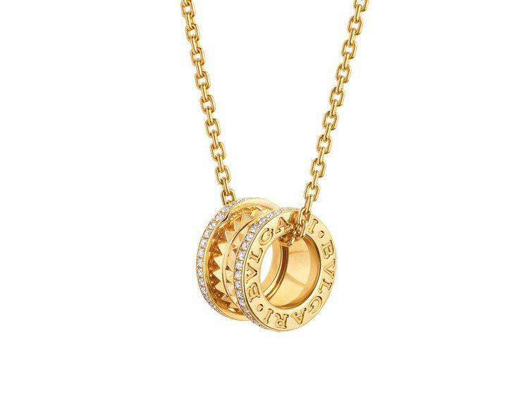 BVLGARI B.zero1 Rock系列黃K金三環鑲鑽項鍊,約19萬1,10...