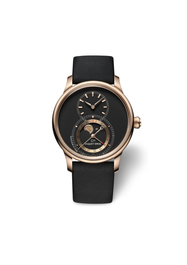 雅克德羅月相大秒針腕表,玫瑰金、41毫米、自動上鍊機芯、大秒針顯示、月相顯示、日...