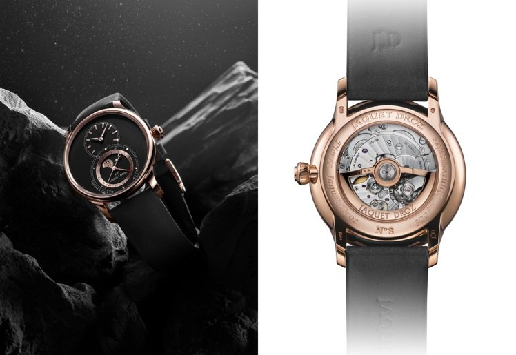 雅克德羅月相大秒針腕表,共有黑、白兩種面盤,皆使用具備矽游絲與擒縱的自動上鍊機芯...