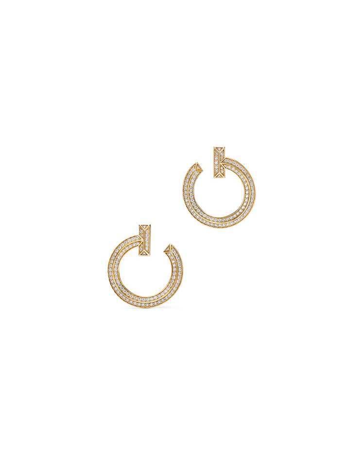 Tiffany T1 18K金圓形鋪鑲鑽石耳環,26萬5,000元。圖/Tiff...